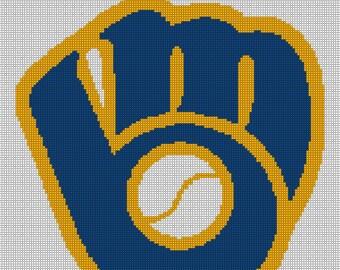 Milwaukee Brewers Logo -- Counted Cross Stitch Chart Patterns, 3 sizes!