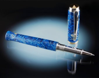 Blue Dyed Box Elder Burl Wood Rollerball Pen or Fountain Pen in Rhodium