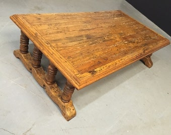 Handmade Vintage 1920s Large Wooden Coffee Table - Rustic Primitives Southwestern Cabin Tavern Santa Fe Mission Mexican Wood
