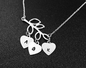 Initial Necklace with Branch, silver initial necklace, custom initial, Branch Necklace, Mothers Necklace, Family Necklace