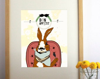 Bon Appetite-Print-Rabbit-Wall Art-8X10- Kitchen-wall decor-Rabbit prints-Humor
