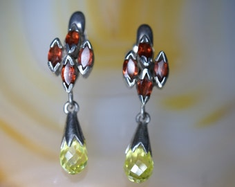 Sterling, Garnet, and Lemon Quartz Drop Hook Earrings
