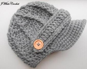 Dark Grey Newborn baby hat, Crochet newsboy hat , and 74 colors to choose,crochet baby boy hat for photo prop