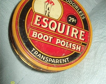 Vintage 80's Esquire Boot Polish 29 Cent Empty Can