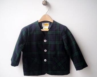 Toddler Boy Clothes, Child's Sport Jacket, Vintage, Green and Blue, Plaid Blazer, Size 3T, 1950's