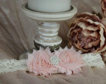 Blush Double Shabby Chic Flower Headband On Ivory Lace