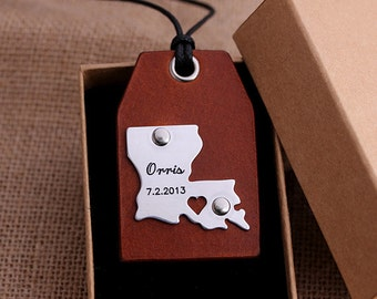 Custom Leather Luggage Tags - Louisiana Luggage Tags - State Map Luggage tag - Can be made with any Countries or States