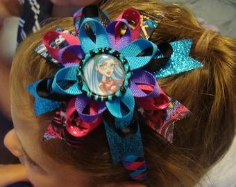 woven headband and bow, hair clip, barrette, bow, ribbon bow, princess