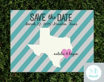 "Save the Date state cut out, personalized colors, custom state, Texas, 5x7"" digital file, wedding invitation"
