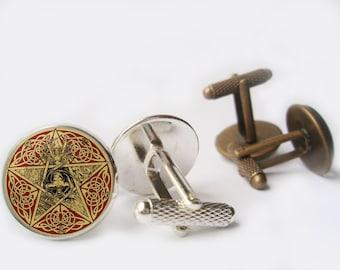 Pentagram cufflinks Bronze/Silver tone