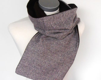 Men's scarf with brown herringbone, scarf wool, winter scarf, gift men