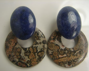 Lapis and Ocean Jasper Hoop Earrings Clips 75