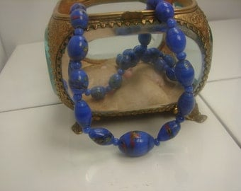Vint Strand of Venetian Glass Beads Necklace Electric Blue 248