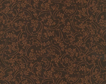 Thimbleberries - Flying Colors Brown on Black Floral VInes Fabric