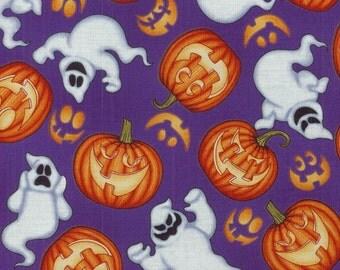 Boo Crew - Ghosts & Pumpkins Toss on Purple Fabric