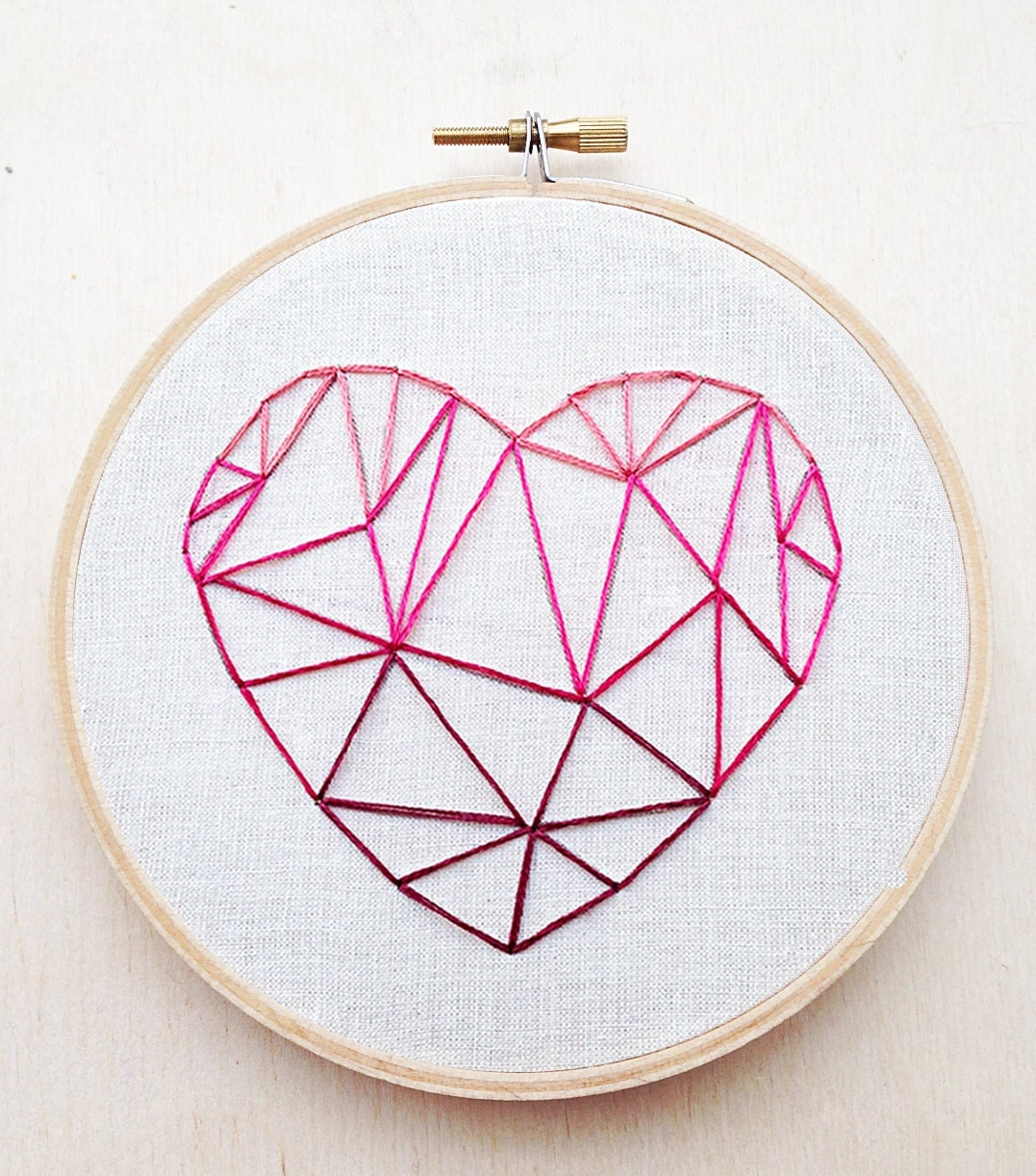 Geometric heart pink valentines day hand embroidery hoop art