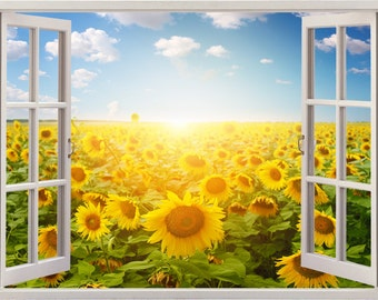 Sunflower wall decal 3D window,sunflower field decal landscape wall sticker  for home decor, meadow wall art print sunflowers sun sky [012]