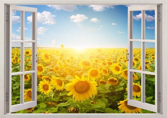 Sunflower wall decal 3D window,sunflower field decal landscape wall sticker  for home decor,