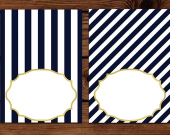 Navy and White Striped Gold Blank Food Labels, Place Cards, Buffet Cards, or Party Labels! Printable Instant Download Customized DIY