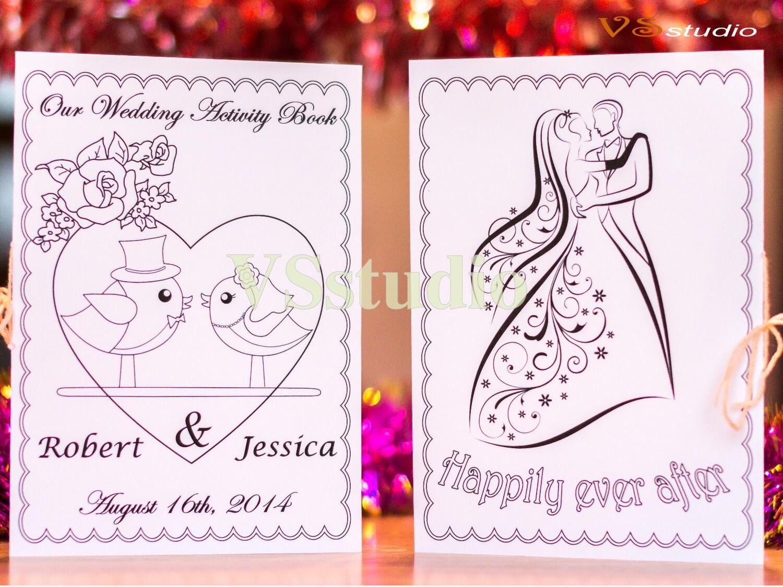 Wedding Coloring Activity Book Personalized Printable Wedding