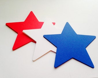 """24 Red, White Blue Star Decorations - 4"""" Star Die Cuts - July 4, 4th of July, Patriotic Veteran Star Cutouts - Star Tags - Blank Tags"""