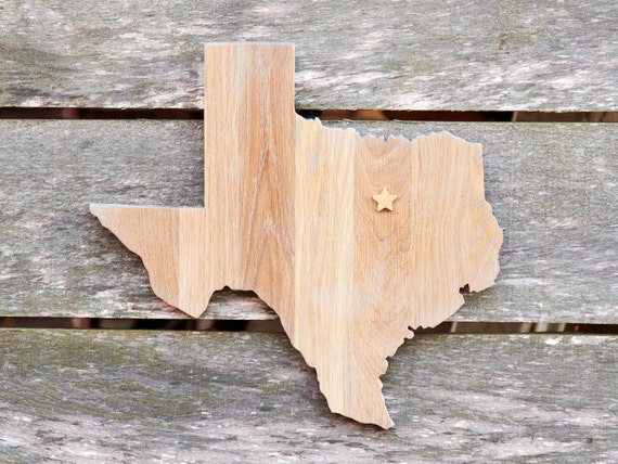 Texas State Shape Wood Cutout Sign Wall Art W Heart Or Star