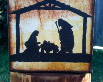 Nativity On Canvas 4 X 4 Gallery Wrapped - FREE shipping in the US