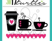 I Love Coffee & Tea Digital Cut File | Perfect for a variety of craft projects including paper crafting, scrapbooking and more.