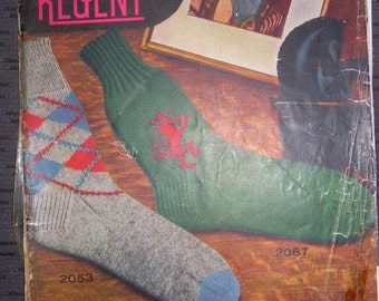 Vintage 1940s REGENT Hand Knit SOCKS pattern magazine. Men's and ladies. Moose sweater patterns. Montreal, Can. Free Shipping Canada + U.S.