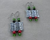 Stylish Silver, Green, Black and Red Dangle Earrings