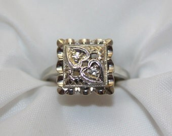 Vintage Circa 1970's, 14kt White Gold Two Heart Pillow Ring with Diamond Accents