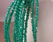 SPRINGTIME MORN 2mm Firepolish Luster Iris Atlantis Green Czech Glass Faceted Rounds - Grass Green Gold Teal Green Beads -  Qty 50 (2-007)