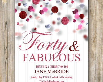 Pink Glitter FORTY & FABULOUS Invitation, Women 40th Birthday Invites, Printable Birthday Invite, Pink and Silver Birthday, Fifty and Sassy