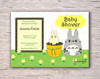 Baby Shower Invitation, Neutral New Baby Invite, Totoro In the Fields, Yellow Totoro Baby Shower Invite, Printable Digital Invitation