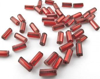 Vintage scarlet red Japanese foiled bugles 6x2mm  10 gram bag. b17-163(e)