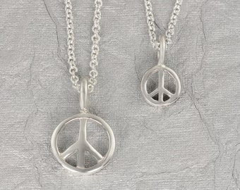 Peace Sign Necklace, Sterling Silver, Handmade, Peace Symbol Necklace, Peace Sign Jewelry, Peace Sign Charm, Boho Jewelry, Small, Large