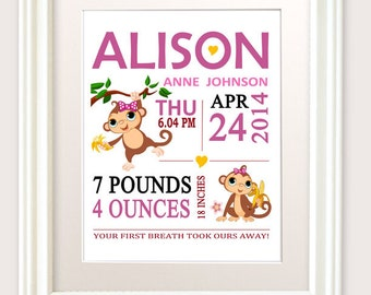 Nursery Wall Art Girl - Nursery Theme Monkey, Birth Announcement Baby Girl Nursery Decor Birth Announcement Girl Birth Announcement