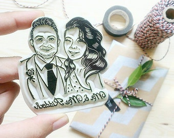 Linocut block/Hand-carved Personalized Wedding COUPLE Portrait Rubber Stamp SET /Anniverary Gift / Valentine /Birthday  Free shipping
