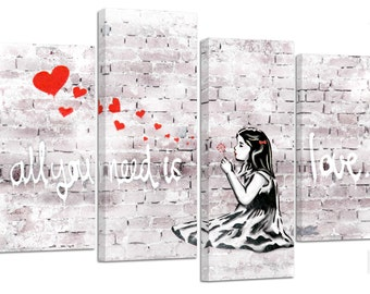 Banksy all you need is love/ set of 4 canvas prints /32x20