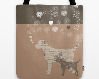 Dog Canvas Tote bag Reusable Personalized - Small Medium Large - Labrador Animal Lover Gift Brown Dog Shopping Market