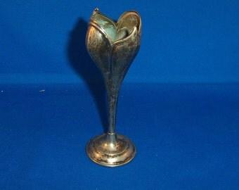 Antique sterling silver tulip specimen vase