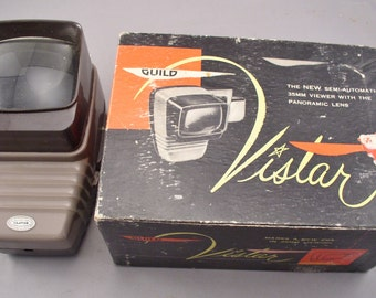 Vintage Guild Vistar 35 MM Slide Viewer with Panoramic Lens - In Original Box 1940s