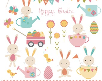 Easter bunnies in teacups and watering cans,bunting,flowers,eggs and chicks, printable digital clipart set.