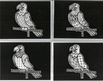 Zentangled Parrot Cards. Blank inside, original artwork outside!