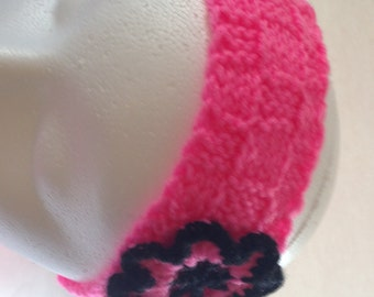 Knit Fashion Accessory, Knitted Turban, Hot Pink with Black Headband, Ear Warmer, Woman's Headwrap, Knitted Hair Wrap, Winter Headband