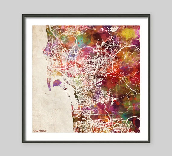 SAN DIEGO Map California Watercolor Painting Old Paper