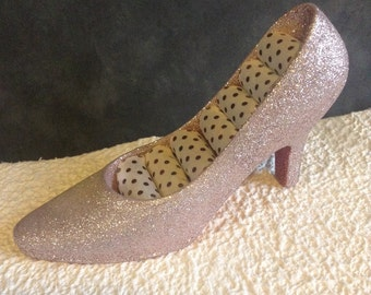 Pink Glitter Heel With Red Bottom Ring Holder. Easter Basket Stuffer. Jewelry Storage. High Heel Decoration