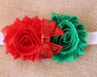 Christmas Flower Headband Double Flower Red Sequin Bow on your choice Elastic Newborn - Adult Photoshoot Christmas RTS