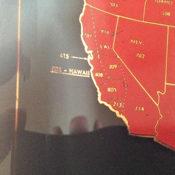 Rare And Original S Area Code Map General Telephone - Area code 209 usa