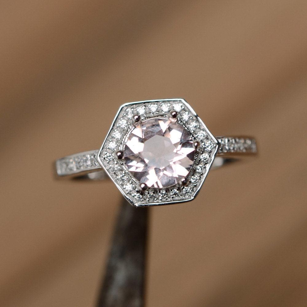morganite ring cut ring pink morganite gemstone